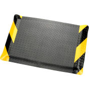 "Diamond Plate Ergonomic Mat9/16"" Thick 36""W Cut Length Up To 75 Ft, Black/Chevron"