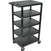 Luxor® BC50  Plastic Shelf Truck 24 x 18 x 46, 5 Shelves, Black