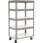 Easy Adjust Boltless 5 Shelf Truck 36 x 24 with Laminate Shelves - Polyurethane Casters