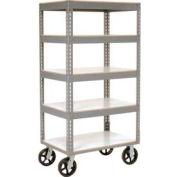 Global Industrial™ Easy Adjust Boltless 5 Shelf Truck 36x24 W/ Laminate Shelves, Rubber Casters