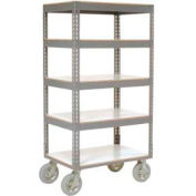 Easy Adjust Boltless 5 Shelf Truck 48 x 24 with Laminate Shelves - Pneumatic Casters