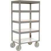 Global Industrial™ Easy Adj. Boltless 5 Shelf Truck 48x24, Laminate Shelves, Pneumatic Casters
