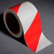 """INCOM® sécurité de bandes réfléchissantes rayé rouge/blanc, 3"""" W x 30' L, 1 rouleau"""