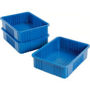 "Plastic Dividable Grid Container - DG93060, 22-1/2""L x 17-1/2""W x 6""H, Blue - Pkg Qty 3"