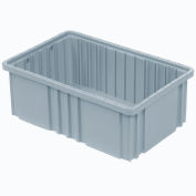 "Plastic Dividable Grid Container - DG93080, 22-1/2""L x 17-1/2""W x 8""H, Gray - Pkg Qty 3"