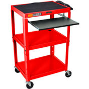 Luxor Red Adjustable Steel Workstation With Sliding Keyboard Shelf
