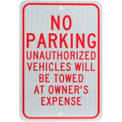 "Aluminum Sign - No Parking Unauthorized Vehicles - .08"" Thick, TM12J"