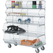 "Global Industrial™ Modular Wire Stacking Bin Basket Rack, 48""W x 20""D x 51""H, 5 Wire Bins"