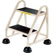 Marchepied roulant en aluminium à2 marches, beige- 1020-19
