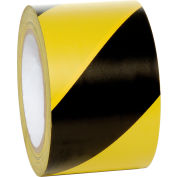 "INCOM® Striped Hazard Warning Tape, Yellow/Black, 3""W x 108'L, 1 Roll"