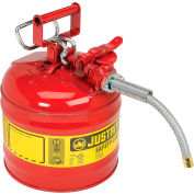 """Justrite® Type II Safety Can - 2-Gallon with 5/8"""" Flexible Spout, Red, 7220120"""