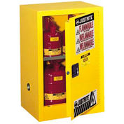 Cabinet de liquide inflammable Justrite, 12 gallons, fermeture automatique porte simple stockage Vertical