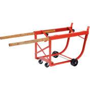 Heavy Duty Rotating Drum Cradle with Wood Handles & Steel Wheels