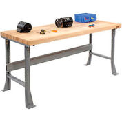 """Global Industrial™ 72""""W x 30""""D Extra Long Industrial Workbench, Maple Block Square Edge - Gray"""
