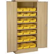 """Locking Storage Cabinet 30""""W X 15""""D X 66""""H With 21 Yellow Shelf Bins and 6 Shelves Unassembled"""