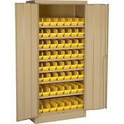 "Locking Storage Cabinet 30""W X 15""D X 66""H With 56 Yellow Shelf Bins and 7 Steel Shelves Unassembled"