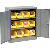 """Locking Storage Cabinet 36""""W X 18""""D X 42""""H With 12 Yellow Stacking Bins and 2 Shelves Unassembled"""
