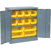 """Locking Storage Cabinet 36""""W X 18""""D X 42""""H With 18 Yellow Stacking Bins and 2 Shelves Unassembled"""