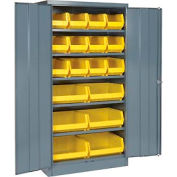 "Locking Storage Cabinet 36""W X 18""D X 72""H With 18 Yellow Shelf Bins and 5 Shelves Unassembled"