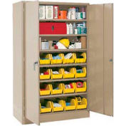"""Locking Storage Cabinet 30""""W X 15""""D X 66""""H With 21 Yellow Shelf Bins and 6 Shelves Assembled"""