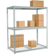 Global Industrial™ Wide Span Rack 72Wx36Dx84H, 3 Shelves Wire Deck 900 Lb Cap. Per Level, Gray