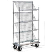"Slant Wire Shelving Truck - 4 Shelves With Dolly Base - 36""W x 18""D x 70""H"