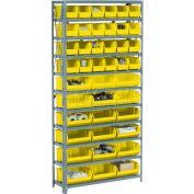 "Steel Open Shelving with 28 Yellow  8-1/4x14-3/4x7 Stacking Bins 8 Shelves - 36"" x 12"" x 73"""