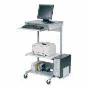 Station de travail informatique mobile avec tablette pour imprimante et support pour UC, gris