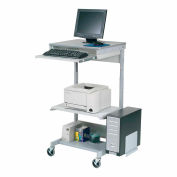Global Industrial™ Mobile Computer Workstation with Printer Shelf and CPU Holder, Gray