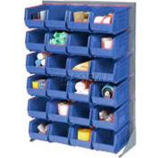 Global Industrial™ Singled Sided Louvered Bin Rack 35 x 15 x 50 - 24 Blue Premium Stacking Bins