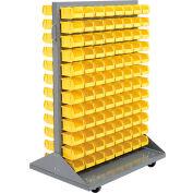 Global Industrial™ Mobile Double Sided Floor Rack - 192 Yellow Stacking Bins 36 x 54