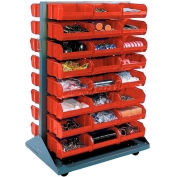 Global Industrial™ Mobile Double Sided Floor Rack - 48 Red Stacking Bins 36 x 54