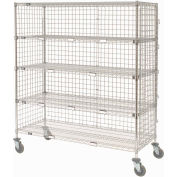 Nexel® Enclosed Wire Exchange Truck 5 Wire Shelves 800 Lb. Cap.