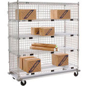 Nexel® Enclosed Wire Stock Picker Truck 5 Wire Shelves 1000 Lb. Cap