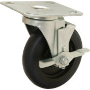 "Medium Duty Swivel Plate Caster with Brake - 5"" Polyurethane Wheel - 250 Lb. Capacity"