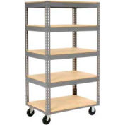 Easy Adjust Boltless 5 Shelf Truck 36 x 24 with Wood Shelves - Polyurethane Casters