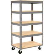 Global Industrial™ Easy Adjust Boltless 5 Shelf Truck 36x24, Wood Shelves, Polyurethane Casters