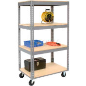 Global Industrial™ Easy Adjust Boltless 4 Shelf Truck 48x24, Wood Shelves, Polyurethane Casters