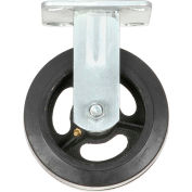 "Heavy Duty Rigid Plate Caster 6"" Mold-on Rubber Wheel 500 lb. Capacity"