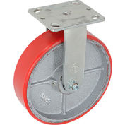 "Heavy Duty Rigid Plate Caster 8"" Polyurethane Wheel 1200 Lb. Capacity"