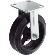 "Heavy Duty Rigid Plate Caster 8"" Mold-On Rubber Wheel 600 Lb. Capacity"