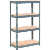 """Extra Heavy Duty Shelving 36""""W x 24""""D x 60""""H With 4 Shelves, Wood Deck"""