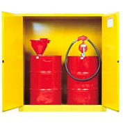 Justrite Drum Storage Cabinet 110 Gallon Manual Close Vertical Flammable Yellow
