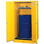 Justrite® Drum Cabinet 55 Gal. Capacity Vertical Self Close Flammable W/ Drum Rollers