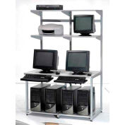 "48"" Computer LAN Workstation, 48""W x 30""D x 74""H, Gray, Unassembled"