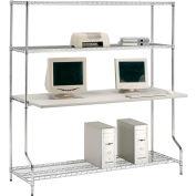 """Nexel™ 4-étagère fil LAN poste informatique, W 72"""" x 30 «D x 74» H, Chrome"""