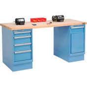 72 x 30 Maple Square Edge 4 Drawer & Cabinet Workbench