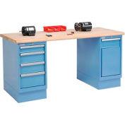 72 x 30 Maple Safety Edge 4 Drawer & Cabinet Workbench