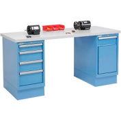 72 x 30 Plastic Square Edge 4 Drawer & Cabinet Workbench