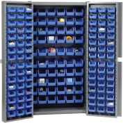 "Bin Cabinet Deep Door with 156 Blue Bins, 16-Gauge Assembled Cabinet 38""W x 24""D x 72""H, Gray"